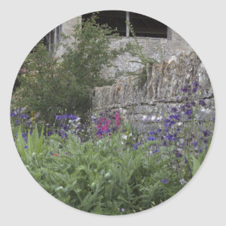 Jardin anglais - église sticker rond