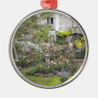 Jardin anglais ornement rond argenté