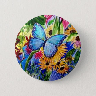 Jardin bleu de papillon macaron rond 5 cm