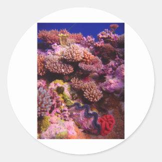 Jardin de corail autocollant rond