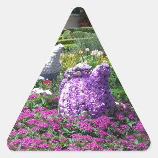 Jardin de l'anglais de temps de thé autocollants en triangle
