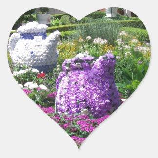 Jardin de l'anglais de temps de thé sticker cœur