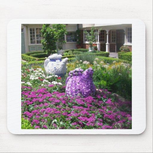Jardin de l'anglais de temps de thé tapis de souris