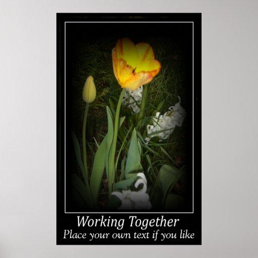 Jardin de ressort de tulipe fonctionnant ensemble  affiche