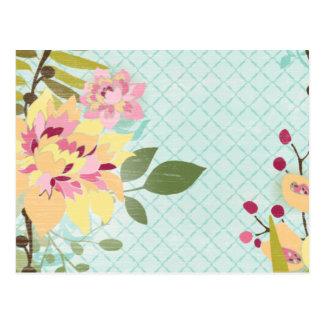 Jardin floral, arrière - plan bleu carte postale