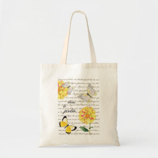 Jardin jaune Fourre-tout de dahlia de papillon Sac En Toile