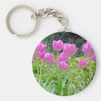 Jardin rose de tulipes de ressort porte-clés