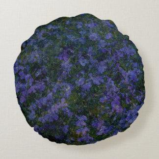 Jardin violet bleu coussin rond