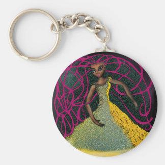 Jasmin in Saffron Basic Round Button Keychain