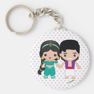 Jasmine and Aladdin Emoji Basic Round Button Keychain