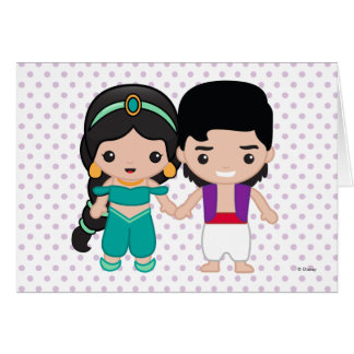 Jasmine and Aladdin Emoji Card
