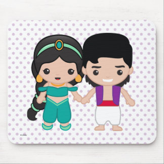 Jasmine and Aladdin Emoji Mouse Pad