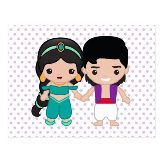 Jasmine and Aladdin Emoji Postcard