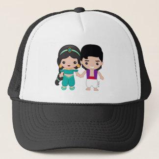 Jasmine and Aladdin Emoji Trucker Hat