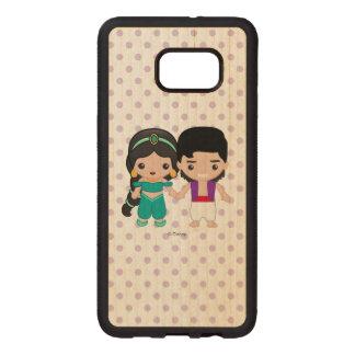Jasmine and Aladdin Emoji Wood Samsung Galaxy S6 Edge Case