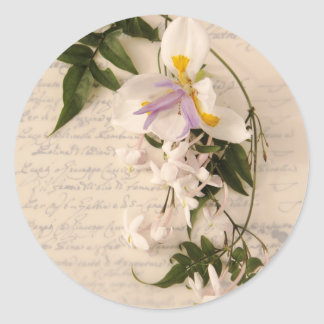 jasmine flowers and lily with script round sticker