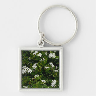 Jasmine Flowers Silver-Colored Square Keychain