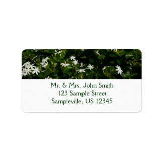 Jasmine Flowers Tropical White Floral Address Label