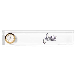 Jasmine, Name, Logo, Desk Name Plate With Clock.