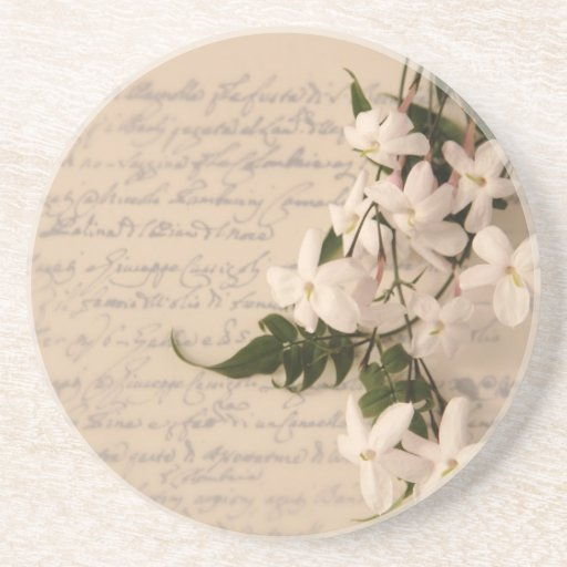 jasmine on old script handwriting coaster