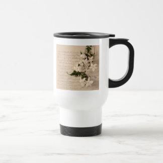 jasmine on old script handwriting commuter cup stainless steel travel mug