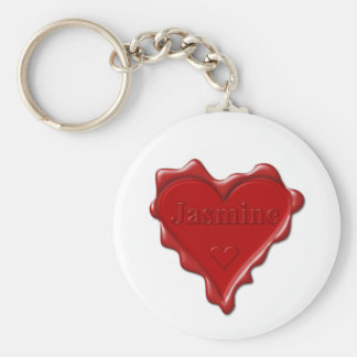 Jasmine. Red heart wax seal with name Jasmine Basic Round Button Keychain