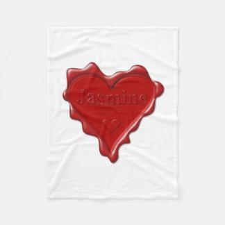 Jasmine. Red heart wax seal with name Jasmine Fleece Blanket