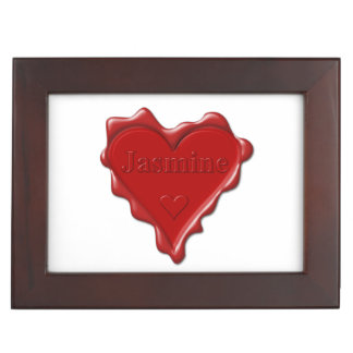 Jasmine. Red heart wax seal with name Jasmine Keepsake Box