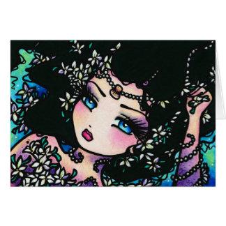 Jasmine Spring Flower Fantasy Mermaid Girl Greeting Card