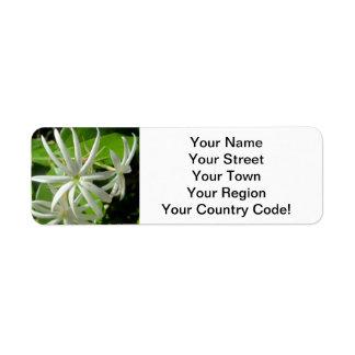 Jasmine White Green Flower Return Address Label