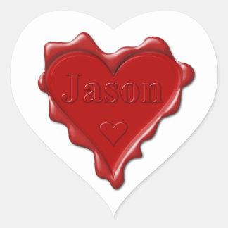Jason. Red heart wax seal with name Jason