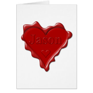 Jason. Red heart wax seal with name Jason Card