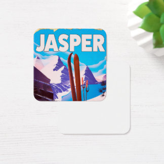 Jasper Alberta Canada travel poster Square Business Card