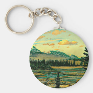 Jasper National Park River with mountain view Basic Round Button Keychain