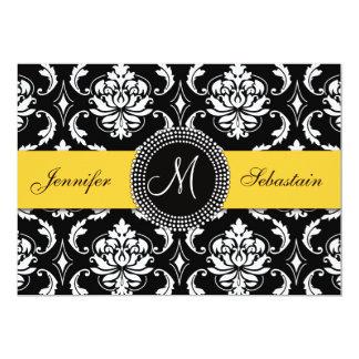 Jaune d'invitations de mariage de monogramme de carton d'invitation  12,7 cm x 17,78 cm