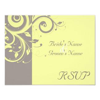 Jaune, mariage inverse gris de remous assortissant carton d'invitation 10,79 cm x 13,97 cm