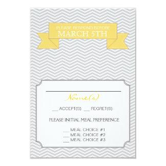Jaune moderne de carte- de réponse de mariage de carton d'invitation 8,89 cm x 12,70 cm