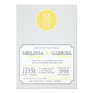 Jaune moderne de faire-part de mariage de Chevron Carton D'invitation 12,7 Cm X 17,78 Cm