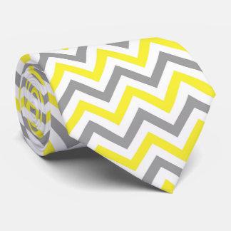 Jaune, motif de zigzag blanc gris du DK grand Cravates Personnalisées