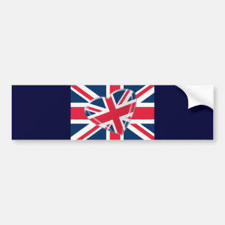 Jaunty Heart Union Jack Flag Art Bumper Sticker