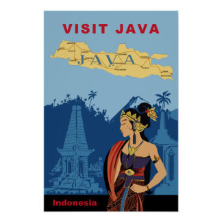 Java, Indonesia travel poster