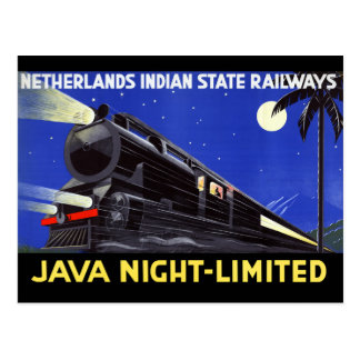 Java Indonesia Vintage Travel Poster Restored Postcard