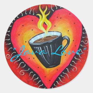 """Java Love"" Stickers, Sheet of 20 Classic Round Sticker"