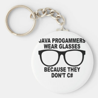 Java programmers don't C# T-Shirts.png Basic Round Button Keychain