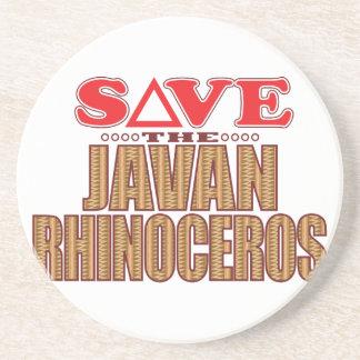 Javan Rhino Save Beverage Coasters