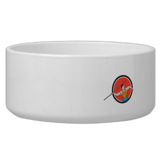 Javelin Throw Track and Field Circle Cartoon Pet Water Bowl
