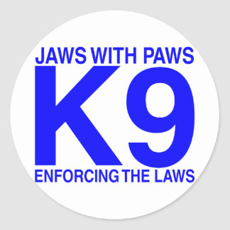 Jaws with Paws enforcing the Laws Classic Round Sticker
