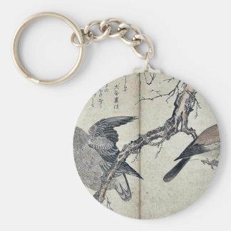 Jay and owl by Kitagawa, Utamaro Ukiyoe Key Chains