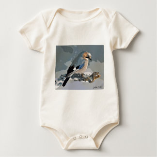 Jay Bird In Winter Baby Bodysuit
