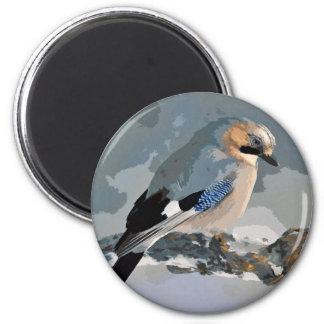 Jay Bird In Winter Magnet
